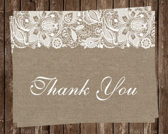 Bridal Shower Thank You Cards, Wedding, Burlap, Lace, Rustic, Country, Shabby Chic, Vintage, Country Chic, 20 Folded Cards, FREE Shipping