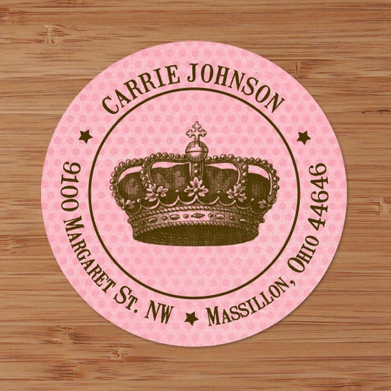Carrie (Distressed Crown) - Custom Address Labels or Stickers