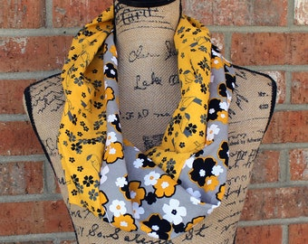 Grey Black and Yellow Floral and Bird Infinity Scarf Ready to Ship Gift under 15 Dollars