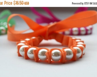 Pearl Bracelet. Sallie Ribbon Bracelet. Papaya. Bridesmaid Jewelry. Fall. Teen Girl Gift Under 20. Flower Girl. Pumpkin. Stocking Stuffer.