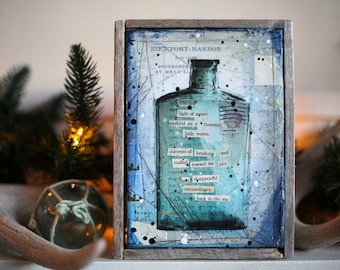 "Message In A Bottle No. #16 - 6.5"" x 8.5"" original framed mixed media painting on canvas"