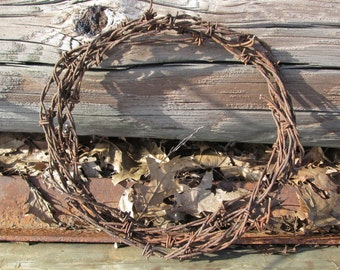 Barbed Wire Wreath Rusty Salvage Vintage Rustic Western Available in 8 or 12 Inch Diameter