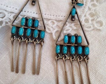 Turquoise Silver Earrings Mexico Zuni Petit Point Style