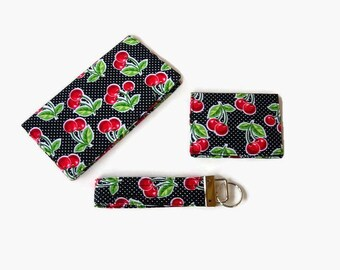 Black Red Cherry Print Purse Set - Checkbook Cover, Credit Card / Business Card Holder, Key Fob - 3 Piece Set - Mini Wallet