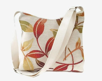 Upholstery Fabric Crossbody Bag - Beige Orange Green Messenger Purse - Fabric Hobo Bag Purse - Adjustable Strap - Leaf Print Handbag