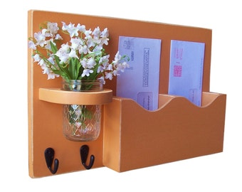 Mail Organizer - Mail and Key Holder - Letter Holder - Double Slots - Key Hooks - Jar Vase - Organizer - Painted Distressed Wood