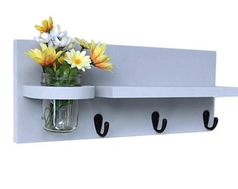 Shelf, Key Hooks, Mason Jar, Collectibles Shelf, Display Shelf, Dog Leash Holder, Black Metal Hooks, Painted Wood