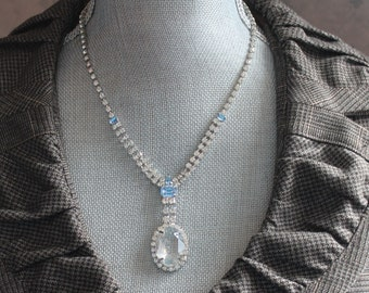 Vintage Baby Blue and Clear Rhinestone Pendant Necklace