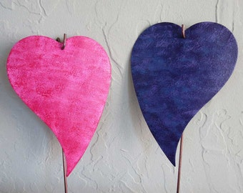 Metal Garden Art Stakes Pink Magenta and Blue Lavender Purple Hearts Yard Decor Recycled Metal Valentine Wedding Anniversary