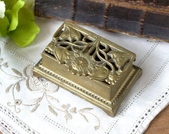 Vintage  Solid Brass Stamp Box - Ornate Brass Daisy Design Postal Stamp Holder
