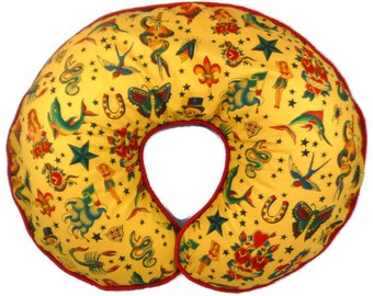 Baby Girl or Boy Retro Tattoo Boppy Pillow Cover Nursing Pillow Cover Tea Stained