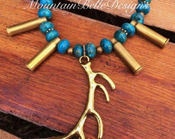 Gold Elk Necklace - Handmade Jewelry - Gifts for Her - Huntress Jewelry - Hunting Necklace - Bullet - Antler Necklace - Elk Antler -Outdoors