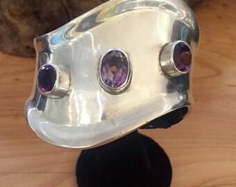 Scorpio Birthday SALE Midcentury Modernest  Mexican Sterling Silver Purple Amethyst Vintage Cuff Bracelet Singed