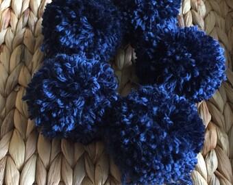 Navy Blue Pom Poms, Extra Large Set of 5