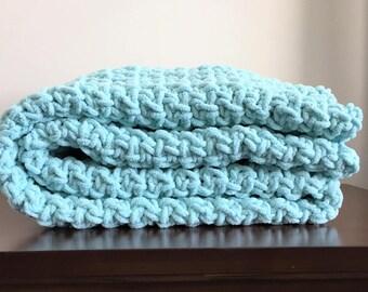 Chunky Crochet Blanket in Light Teal Seafoam