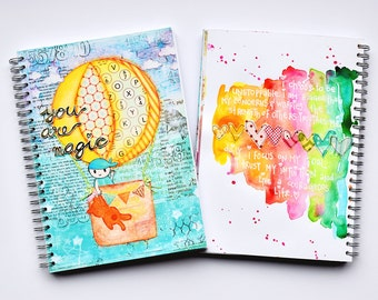 "Art Journal Revlie ""You are magic (boy)"" & a FREE set of my REVitup postcards"