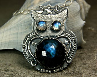Bohemian Style Labradorite Owl Pendant, Sterling Silver Celestial Moonstone Jewelry, Gypsy Necklace