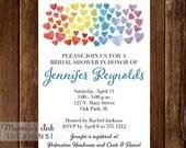 10% OFF SALE Watercolor Bridal Shower Invitation, Watercolor Hearts Invitation, Heart Invitation, Rainbow Invitation, Shower Invitation, Mod