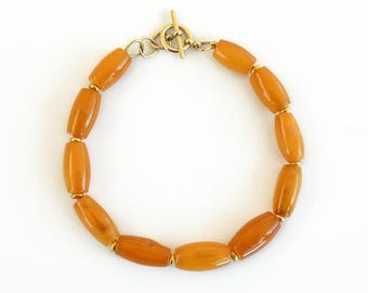 Old Baltic Amber 18K gold Bracelet - Handmade Fine Jewelry