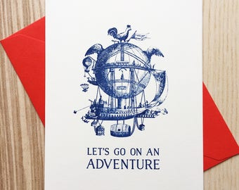 Let's Go On An Adventure Card / I Love You Card / I Like You Card / Valentine's Day Card / Happy Valentine's Day Card / Vintage Balloon Card
