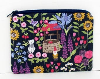 Gnome Zipper Pouch, Grandmas Garden, Wishing Well, Garden Gnome, Flower Coin Purse