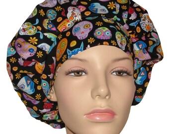 Scrub Hats For Women-Sugar Skulls and Animals-Bouffant Scrub Hats-Scrub Caps-Surgical Cap-ScrubHeads-Surgical Scrub Hat-Skulls Scrub Hats
