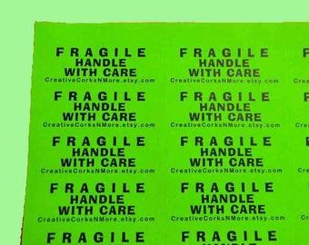 30 PERSONALIZED FRAGILE Handle With Care Labels. 1 Sheet Neon Green 1-Inch Labels. 5300