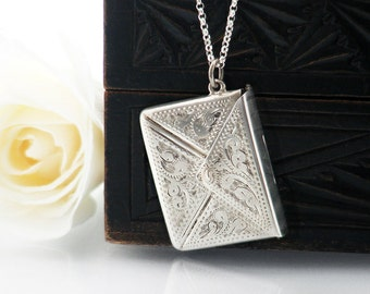 Antique Sterling Silver Locket | Edwardian Silver Envelope | Love Token | English Sterling Silver Stamp Case - 24 Inch Long Chain Included