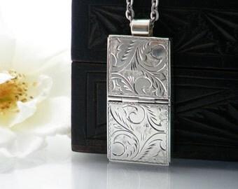 Sterling Silver Vintage Locket | Double Pill Box | Secure Medication or Keepsake Locket | Hallmarked Silver Locket Necklace - 32 Inch Chain
