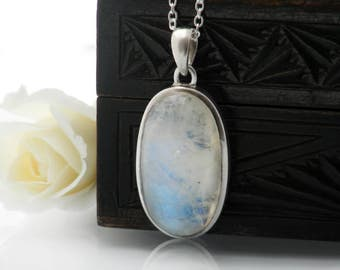 Vintage Moonstone Pendant | Sterling Silver | 925 Silver | Large Oval Moonstone Cabochon with Electric Blue Flash - 30 Inch Sterling Chain