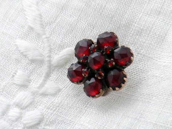 Victorian Stick Pin | Garnet Flower Pin | Antique Bohemian Garnets | Crimson Red Pyrope Garnets | Lapel Pin, Cravat Pin - January Birthstone