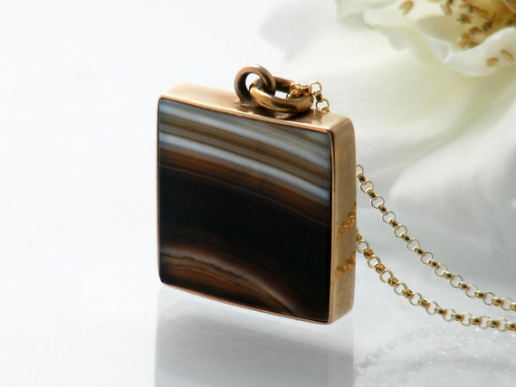 Antique Pendant | Glossy Banded Agate Victorian Pendant | Gold Square Frame with Striped Banded Agate Gemstone - 24 Inch Long Chain Included