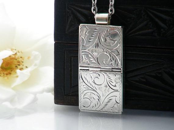 Sterling Silver Vintage Locket   Double Pill Box   Secure Medication or Keepsake Locket   Hallmarked Silver Locket Necklace - 32 Inch Chain