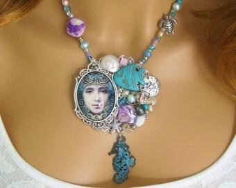 Mermaid Necklaces, Mermaid Brooches, Mermaid Necklace, Mermaid Brooch, Mermaid Jewelry, Mermaids, Beaded Necklace, Mermaid Statement, N858