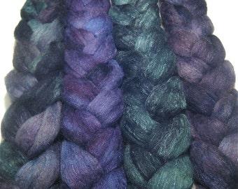 Wonder Bundle Polwarth & tussah silk roving 9.4 oz Rambling Vines - hand dyed spinning felting fiber bundle - painted wool fibre set