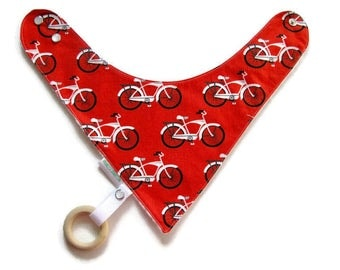 Baby Bandana Bib With Detachable Wooden Teether Bicycles  Reversible  Minky Lined