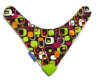 Baby Bandana Bib With  Sewn on Food Safe  Silicone Teether Corner, Mod Print,  Reversible  Minky Lined