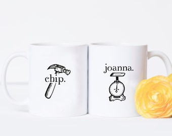 Couples Mug Set - Chip and Joanna, Mug Gift Set, Fixer Upper, Romantic Valentines Gift, Joanna Gaines, Coffee Cups, Chip Gaines