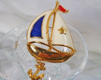 Vintage Red White Blue Sailboat Brooch.  Avon.  Enamel Sailboat Dangle Pin.  Patriotic Nautical Boat Brooch.