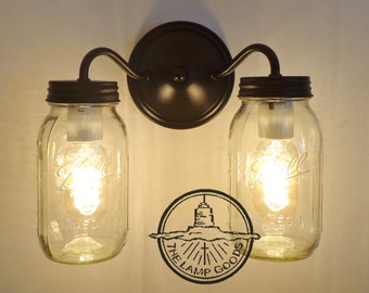 Canning Jar DOUBLE Wall Sconce NEW Quarts