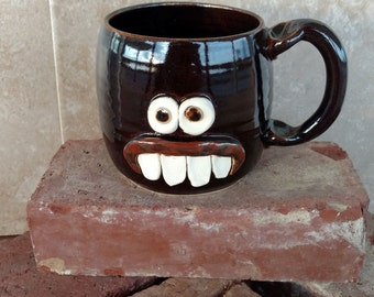 Left Handed Face Mug. Dentist Orthodontist Hygienist Gift. Funny Coffee Cup Chocolate Black. Handmade Ceramic Mug. Man Woman Beer Tea Mugs.
