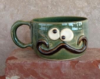 Soup Bowl. Handlebar Mustache Mug. Cappuccino Latte Mug. Ice Cream Dessert Snack Bowl. Frosty Forest Green.
