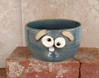 Cereal Bowl in Blue. Stoneware Pottery Bowl. Rice Noodle Salad Soup Bowl. Funny Sleepy Face Good Morning Oatmeal Bowl. Nelson Studio Ug Chug