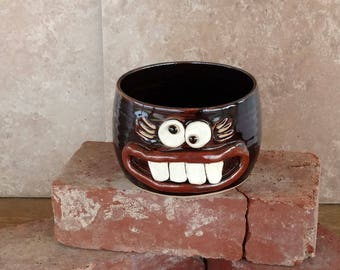 NEW Cereal Bowl Funny Womans Stoneware Pottery Soup Chili Bowl Dark Chocolate Black Ice Cream Popcorn Snack Bowl for Her. Silly Smiley Face.