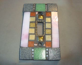 MOSAIC Light Switch Plate -  Single Switch, Wall Art, Wall Plate, Stained Glass, Pink, Gray, Gold, Beige