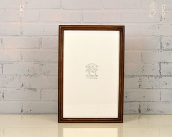 """11x17 Picture Frame in Double Cove Style with Vintage Dark Wood Tone Finish - Handmade 11 x 17"""" Photo Frame - IN STOCK - Same Day Shipping"""