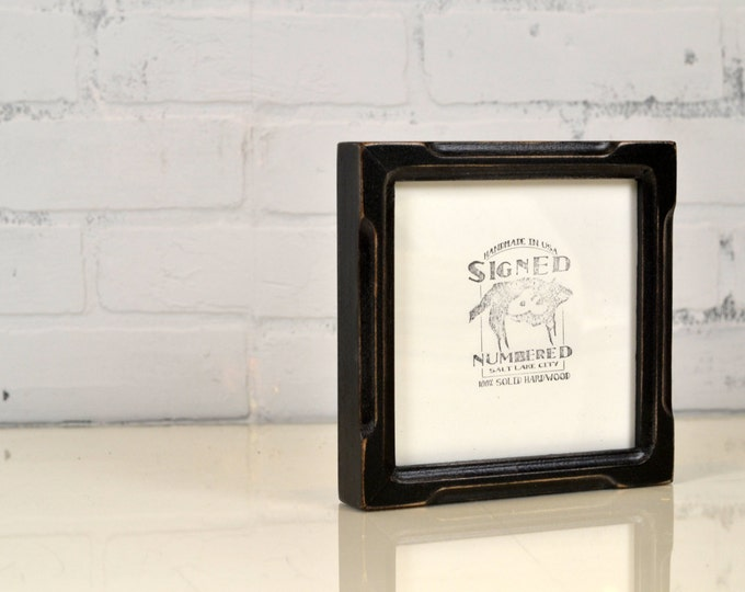"6x6"" Square Picture Frame in Deep Bones Style with Vintage Black Finish - Handmade 6 x 6 Photo Frame - In Stock - Same Day Shipping"