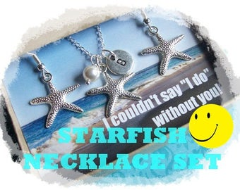 STARFISH NECKLACE - Starfish Necklace set, Starfish Necklace Jewelry Set, Starfish Earrings, Beach Wedding Jewelry Gift, Starfish Jewelry