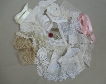 Lot of Vintage Lace Trim  Shabby Chic Inspiration Kit Lot