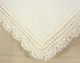 Vintage Beaded Crochet Wedding Hankie / Beaded Wedding Hankie / Fancy Wedding Hankie